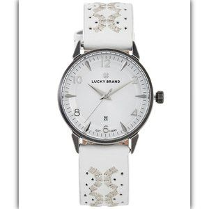 Ventana Embroidered White Leather Strap Watch 34mm
